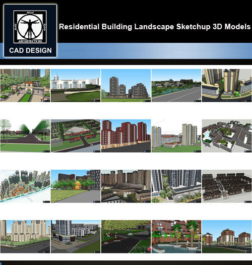 【Sketchup 3D Models】20 Types of Residential Building Landscape Sketchup 3D Models  V.4 - CAD Design | Download CAD Drawings | AutoCAD Blocks | AutoCAD Symbols | CAD Drawings | Architecture Details│Landscape Details | See more about AutoCAD, Cad Drawing and Architecture Details
