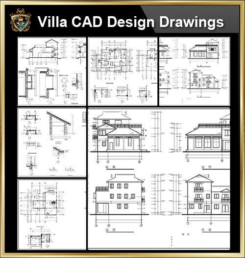★【Villa CAD Design,Details Project V.14】Chateau,Manor,Mansion,Villa@Autocad Blocks,Drawings,CAD Details,Elevation