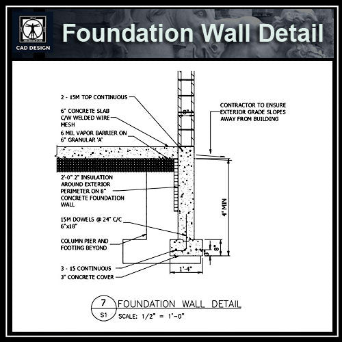 Free CAD Details-Foundation Wall Detail - CAD Design | Download CAD Drawings | AutoCAD Blocks | AutoCAD Symbols | CAD Drawings | Architecture Details│Landscape Details | See more about AutoCAD, Cad Drawing and Architecture Details