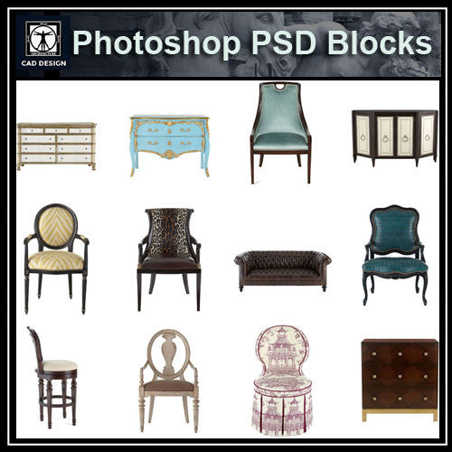Photoshop PSD Luxury Furniture Blocks 2 - CAD Design | Download CAD Drawings | AutoCAD Blocks | AutoCAD Symbols | CAD Drawings | Architecture Details│Landscape Details | See more about AutoCAD, Cad Drawing and Architecture Details