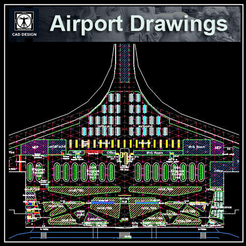 Airport Cad Drawings 2 - CAD Design | Download CAD Drawings | AutoCAD Blocks | AutoCAD Symbols | CAD Drawings | Architecture Details│Landscape Details | See more about AutoCAD, Cad Drawing and Architecture Details