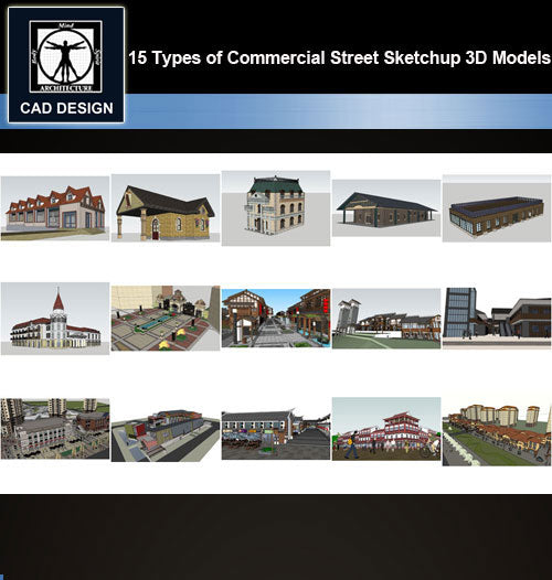 【Sketchup 3D Models】15 Types of Commercial Street Design Sketchup 3D Models  V.2 - CAD Design | Download CAD Drawings | AutoCAD Blocks | AutoCAD Symbols | CAD Drawings | Architecture Details│Landscape Details | See more about AutoCAD, Cad Drawing and Architecture Details