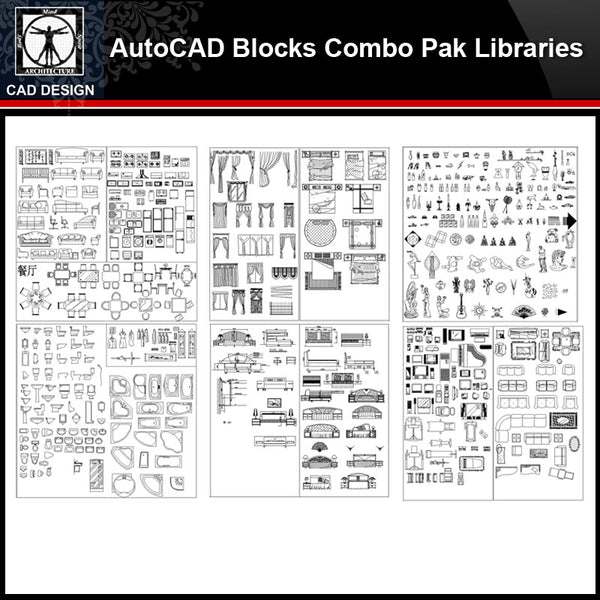 ★【Autocad Blocks Combo Pak Libraries V.2】All kinds of CAD blocks Bundle - CAD Design | Download CAD Drawings | AutoCAD Blocks | AutoCAD Symbols | CAD Drawings | Architecture Details│Landscape Details | See more about AutoCAD, Cad Drawing and Architecture Details