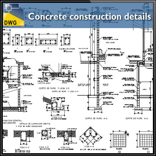 Concrete details autocad dwg files
