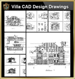 ★【Villa CAD Design,Details Project V.10】Chateau,Manor,Mansion,Villa@Autocad Blocks,Drawings,CAD Details,Elevation