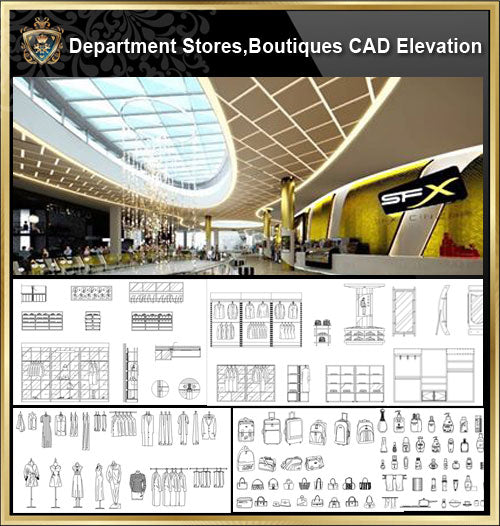 ★【Store CAD Design ,Blocks,Details Elevation Collection】@Shopping centers, department stores, boutiques, clothing stores, women's wear, men's wear, store design-Autocad Blocks,Drawings,CAD Details,Elevation