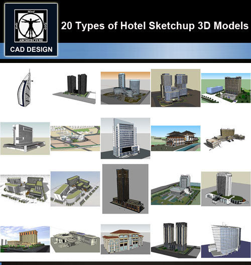 【Sketchup 3D Models】20 Types of Hotel Sketchup 3D Models  V.1 - CAD Design | Download CAD Drawings | AutoCAD Blocks | AutoCAD Symbols | CAD Drawings | Architecture Details│Landscape Details | See more about AutoCAD, Cad Drawing and Architecture Details