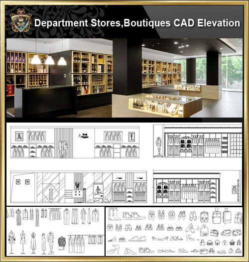★【Store CAD Design Elevation,Details Elevation Bundle】@Shopping centers, department stores, boutiques, clothing stores, women's wear, men's wear, store design-Autocad Blocks,Drawings,CAD Details,Elevation