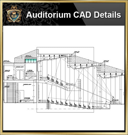 ★【Auditorium CAD Details V.4】@Auditorium Design,Autocad Blocks,AuditoriumDetails,Auditorium Section,Auditorium elevation design drawings