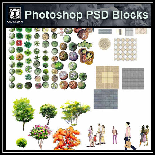 Hand-painted PSD Landscape Blocks 1 - CAD Design | Download CAD Drawings | AutoCAD Blocks | AutoCAD Symbols | CAD Drawings | Architecture Details│Landscape Details | See more about AutoCAD, Cad Drawing and Architecture Details