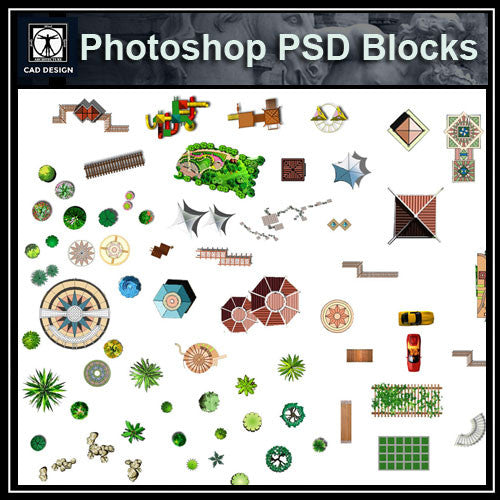 Hand-painted PSD Landscape Blocks 4