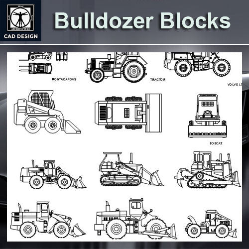 Bulldozer Blocks - CAD Design | Download CAD Drawings | AutoCAD Blocks | AutoCAD Symbols | CAD Drawings | Architecture Details│Landscape Details | See more about AutoCAD, Cad Drawing and Architecture Details