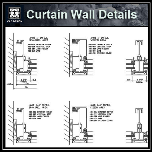 Curtain Wall Details - CAD Design | Download CAD Drawings | AutoCAD Blocks | AutoCAD Symbols | CAD Drawings | Architecture Details│Landscape Details | See more about AutoCAD, Cad Drawing and Architecture Details