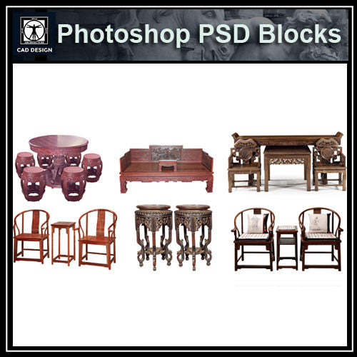 Photoshop PSD Chinese Chair Blocks 2 - CAD Design | Download CAD Drawings | AutoCAD Blocks | AutoCAD Symbols | CAD Drawings | Architecture Details│Landscape Details | See more about AutoCAD, Cad Drawing and Architecture Details