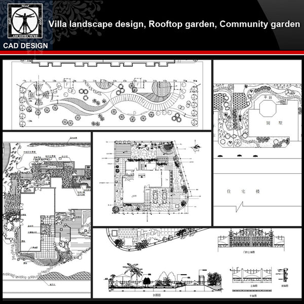 ★【Villa Landscape design,Rooftop garden,Community garden CAD Drawings Bundle V.5】All kinds of Landscape design CAD Drawings