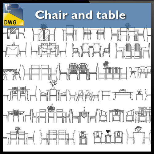 Chair and table CAD Blocks