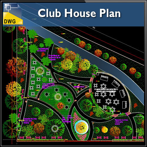 Club house plan drawings cad design free cad blocks for Garden pond design software free download