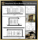 ★【Shopping Centers, Department Stores,Boutiques CAD Design Drawings V.1】@Boutiques, clothing stores, women's wear, men's wear, store design-Autocad Blocks,Drawings,CAD Details,Elevation