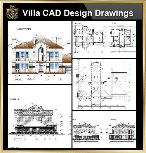 ★【Villa CAD Design,Details Project V.19】Chateau,Manor,Mansion,Villa@Autocad Blocks,Drawings,CAD Details,Elevation