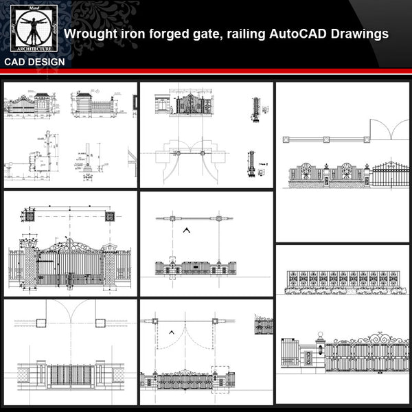 ★【Wrought iron,forged gate,railing Autocad Drawings】All kinds of Wrought iron CAD Drawings