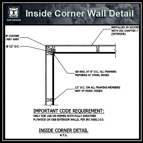 Free CAD Details- Inside Corner Wall Detail - CAD Design | Download CAD Drawings | AutoCAD Blocks | AutoCAD Symbols | CAD Drawings | Architecture Details│Landscape Details | See more about AutoCAD, Cad Drawing and Architecture Details