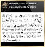 ★【Auditorium ,Cinema, Theaters CAD Blocks-Musical instrument CAD Blocks】@Auditorium ,Cinema, Theaters CAD Blocks,Musical instrument Autocad Blocks,Drawings,Details