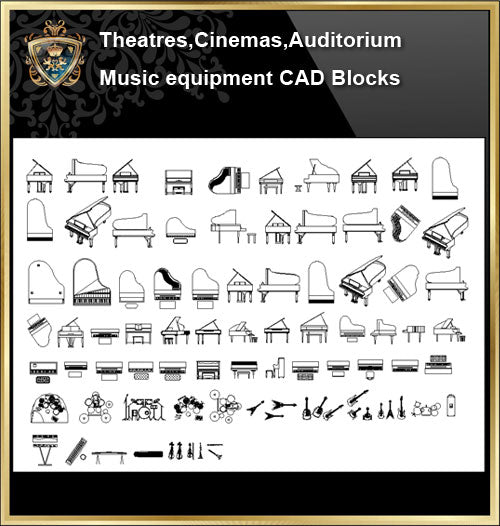 ★【Auditorium ,Cinema, Theaters CAD Blocks-Musical instrument CAD Blocks】@Auditorium ,Cinema, Theaters CAD Blocks,Musical instrument Autocad Blocks,Drawings,Details - CAD Design | Download CAD Drawings | AutoCAD Blocks | AutoCAD Symbols | CAD Drawings | Architecture Details│Landscape Details | See more about AutoCAD, Cad Drawing and Architecture Details
