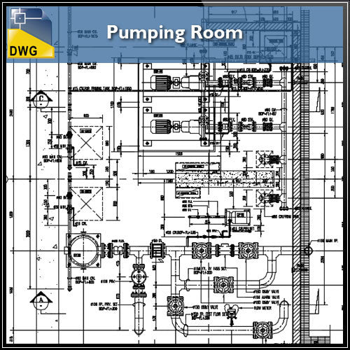 Pumping Room Design in autocad dwg files