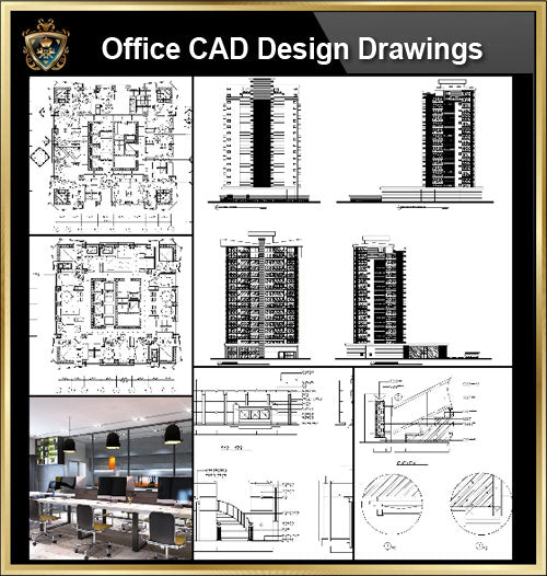 ★【Office, Commercial building, mixed business building CAD Design Project V.3】@Autocad Blocks,Drawings,CAD Details,Elevation