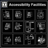 Accessibility Facilities Drawings V1 - CAD Design | Download CAD Drawings | AutoCAD Blocks | AutoCAD Symbols | CAD Drawings | Architecture Details│Landscape Details | See more about AutoCAD, Cad Drawing and Architecture Details
