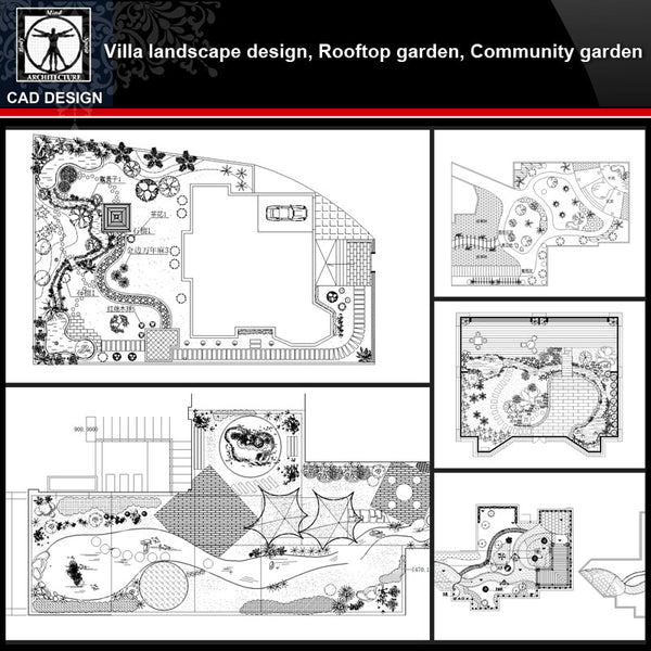 ★【Villa Landscape design,Rooftop garden,Community garden CAD Drawings Bundle V.3】All kinds of Landscape design CAD Drawings