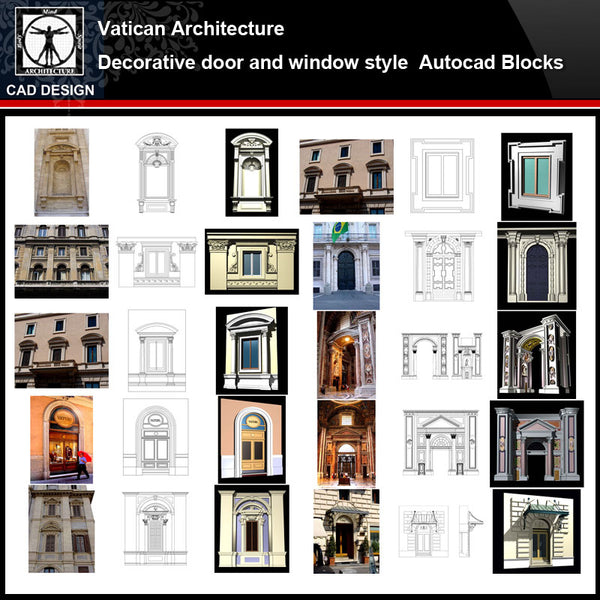 ★【Vatican Architecture Style Design】Vatican architecture · Decorative door and window style CAD Drawings - CAD Design | Download CAD Drawings | AutoCAD Blocks | AutoCAD Symbols | CAD Drawings | Architecture Details│Landscape Details | See more about AutoCAD, Cad Drawing and Architecture Details