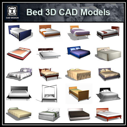 Bed 3D Cad Models - CAD Design | Download CAD Drawings | AutoCAD Blocks | AutoCAD Symbols | CAD Drawings | Architecture Details│Landscape Details | See more about AutoCAD, Cad Drawing and Architecture Details