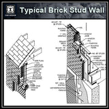 CAD Details Collection-Typical Brick Stud Wall (ISO) - CAD Design | Download CAD Drawings | AutoCAD Blocks | AutoCAD Symbols | CAD Drawings | Architecture Details│Landscape Details | See more about AutoCAD, Cad Drawing and Architecture Details