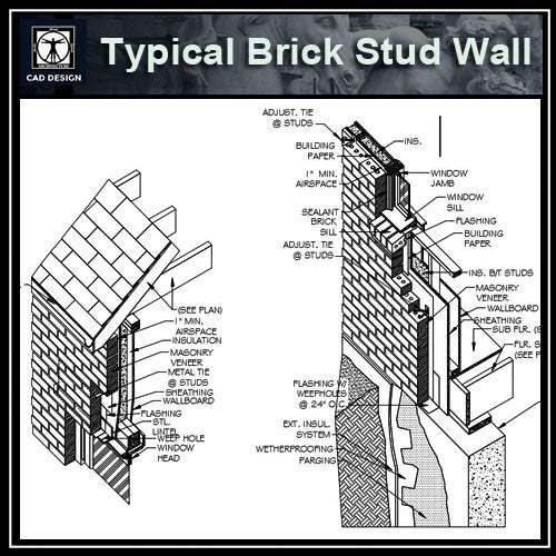 【cad Details Collection Typical Brick Stud Wall Iso