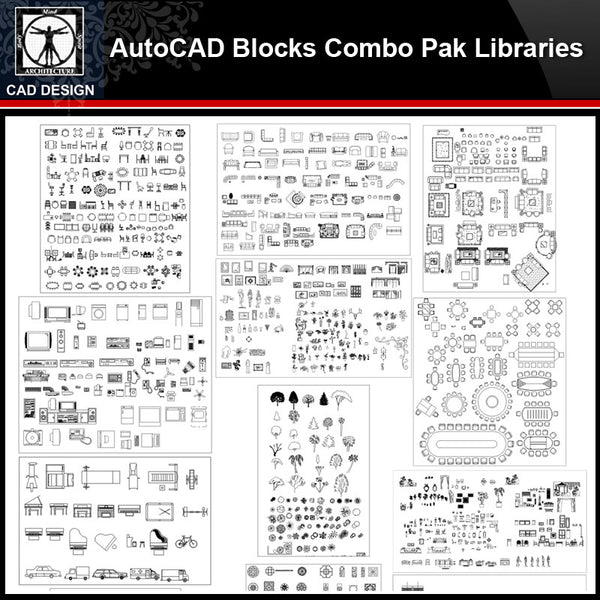 ★【Autocad Blocks Combo Pak Libraries V.1】All kinds of CAD blocks Bundle - CAD Design | Download CAD Drawings | AutoCAD Blocks | AutoCAD Symbols | CAD Drawings | Architecture Details│Landscape Details | See more about AutoCAD, Cad Drawing and Architecture Details