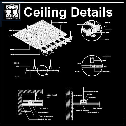 Free Ceiling Details 1 - CAD Design | Download CAD Drawings | AutoCAD Blocks | AutoCAD Symbols | CAD Drawings | Architecture Details│Landscape Details | See more about AutoCAD, Cad Drawing and Architecture Details