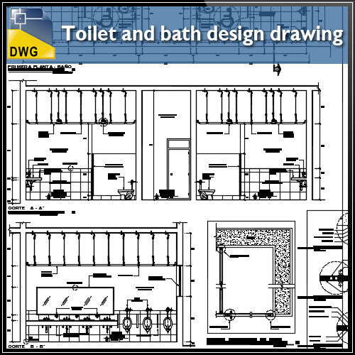 Detail drawing of toilet and bath design drawing
