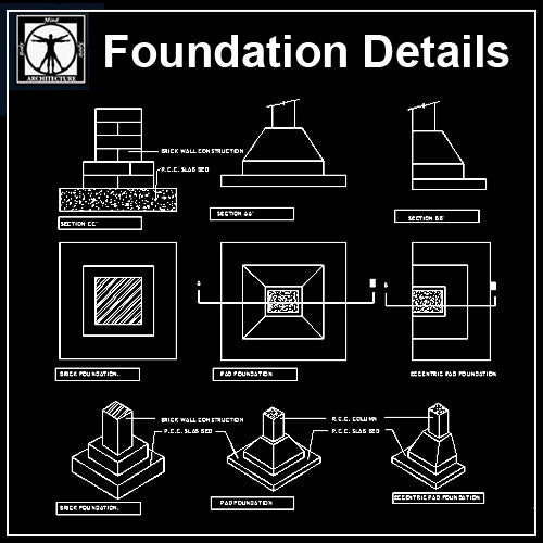 Free Foundation Detail - CAD Design | Download CAD Drawings | AutoCAD Blocks | AutoCAD Symbols | CAD Drawings | Architecture Details│Landscape Details | See more about AutoCAD, Cad Drawing and Architecture Details