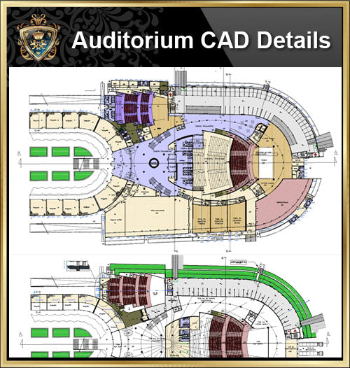 ★【Auditorium CAD Details V.5】@Auditorium Design,Autocad Blocks,AuditoriumDetails,Auditorium Section,Auditorium elevation design drawings