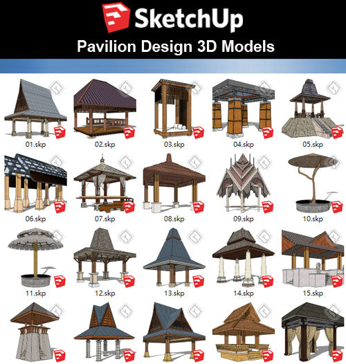 【Sketchup 3D Models】30 Types of Asia Style Pavilion 3D Models - CAD Design | Download CAD Drawings | AutoCAD Blocks | AutoCAD Symbols | CAD Drawings | Architecture Details│Landscape Details | See more about AutoCAD, Cad Drawing and Architecture Details
