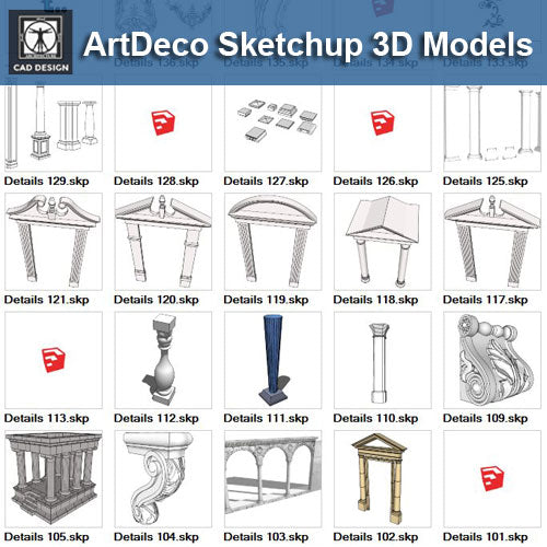 European Architecture Elements 3D Models-Sketchup 3D Models - CAD Design | Download CAD Drawings | AutoCAD Blocks | AutoCAD Symbols | CAD Drawings | Architecture Details│Landscape Details | See more about AutoCAD, Cad Drawing and Architecture Details