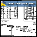 Living room ceiling design and detail dwg files