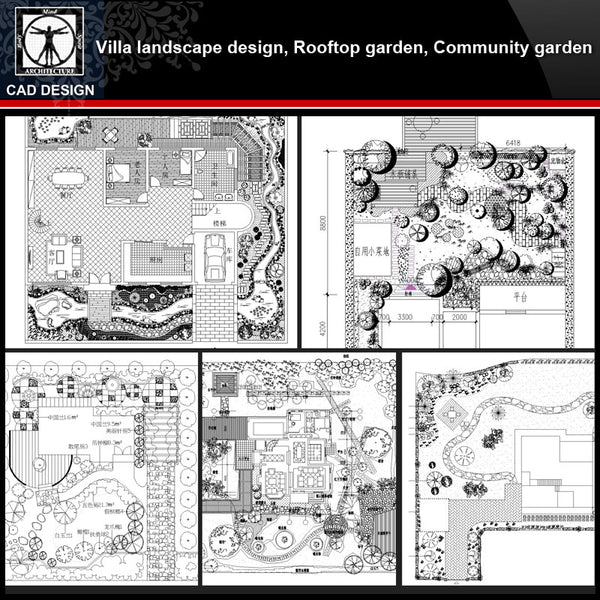 ★【Villa Landscape design,Rooftop garden,Community garden CAD Drawings Bundle V.2】All kinds of Landscape design CAD Drawings