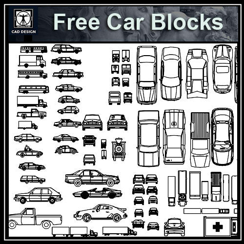 Free Automobile Blocks 1 - CAD Design | Download CAD Drawings | AutoCAD Blocks | AutoCAD Symbols | CAD Drawings | Architecture Details│Landscape Details | See more about AutoCAD, Cad Drawing and Architecture Details