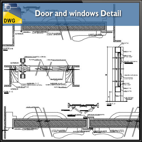Door and Windows Details - CAD Design | Download CAD Drawings | AutoCAD Blocks | AutoCAD Symbols | CAD Drawings | Architecture Details│Landscape Details | See more about AutoCAD, Cad Drawing and Architecture Details
