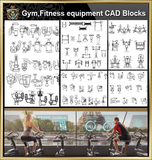 ★【All Gym,Fitness equipment CAD Blocks Bundle-Gymnasium, sports hall, gym, fitness equipment, weightlifting, dumbbells, yoga, treadmill, stepper】
