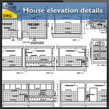 House elevation details - CAD Design | Download CAD Drawings | AutoCAD Blocks | AutoCAD Symbols | CAD Drawings | Architecture Details│Landscape Details | See more about AutoCAD, Cad Drawing and Architecture Details