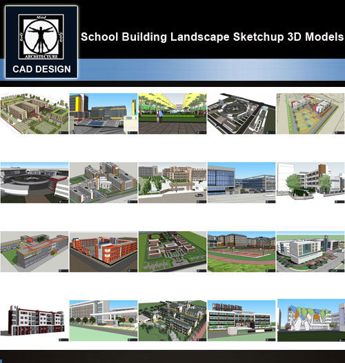【Sketchup 3D Models】20 Types of School Design Sketchup 3D Models  V.3