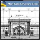 Main Gate Structure Details - CAD Design | Download CAD Drawings | AutoCAD Blocks | AutoCAD Symbols | CAD Drawings | Architecture Details│Landscape Details | See more about AutoCAD, Cad Drawing and Architecture Details